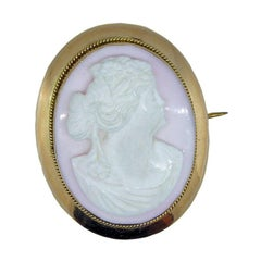 Victorian Antique Cameo Brooch in Rose Gold Surround
