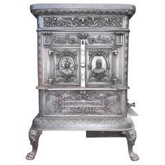 Victorian Antique Cast Iron Wood Burning Stove by De Dietrich & Niederbronn