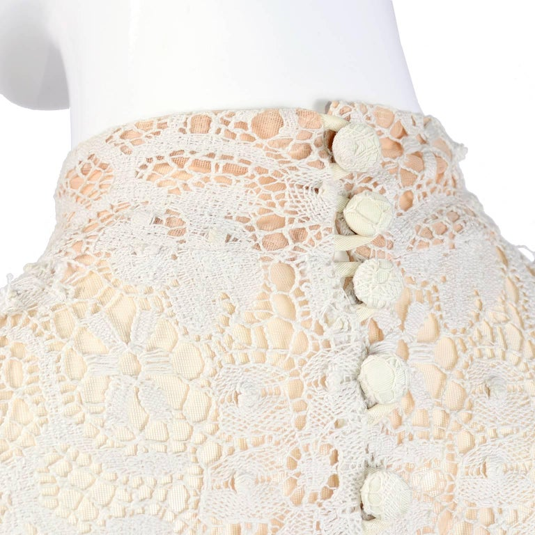 Vintage Wedding Dresses For Sale: Victorian Antique Crochet Lace Vintage Dress High Collar