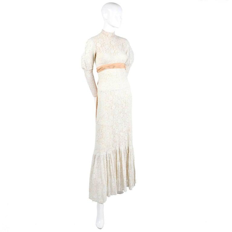 Victorian Antique Crochet Lace Vintage Dress High Collar Wedding ...