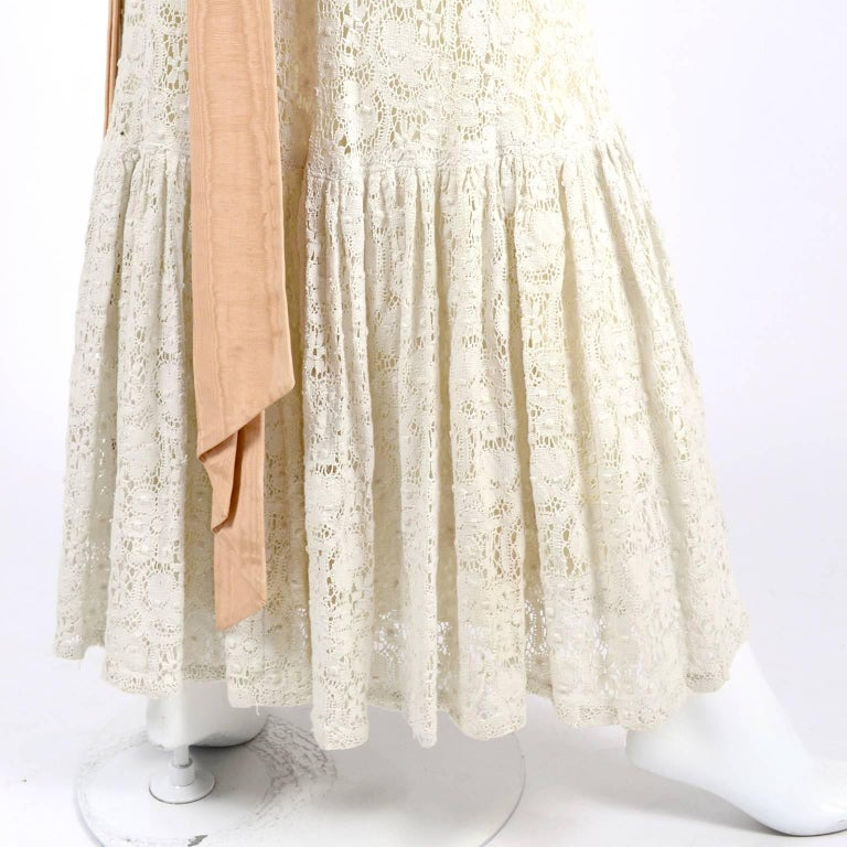 Victorian Antique Crochet Lace Vintage Dress High Collar Wedding ...
