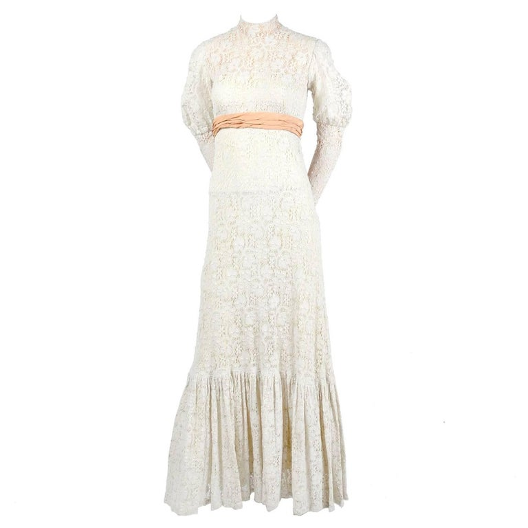 Vintage Wedding Dresses For Sale: Victorian Antique Crochet Lace Vintage Dress W/ High