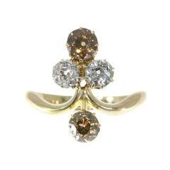 Victorian Antique Diamond 18 Karat Yellow Rose Gold Aigrette Engagement Ring