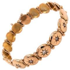 Victorian Antique Diamond Circular Full Link 12K Yellow Gold Bracelet