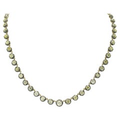 Victorian Antique Diamond Riviera Necklace Old Mine Cut Over 15 Carats Total
