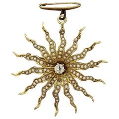 Victorian Antique Diamond Seed-Pearl Gold Sunburst Brooch