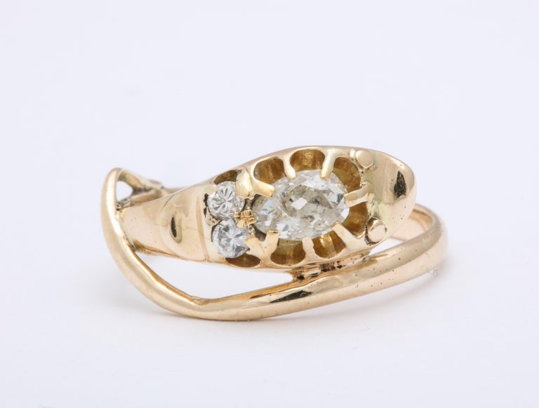 Victorian Antique Diamond Smiling Serpent Ring In Excellent Condition For Sale In Stamford, CT
