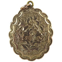 Victorian Antique Gold Back and Front Locket, Hand Engraved
