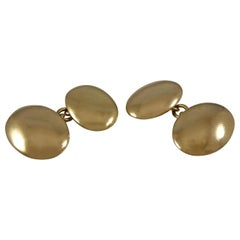 Victorian Antique Gold Cufflinks, 18 Carat Gold Hallmarked 1892, Oval Design