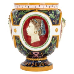 Victorian Antique Majolica Jardinière of the Four Seasons by Minton
