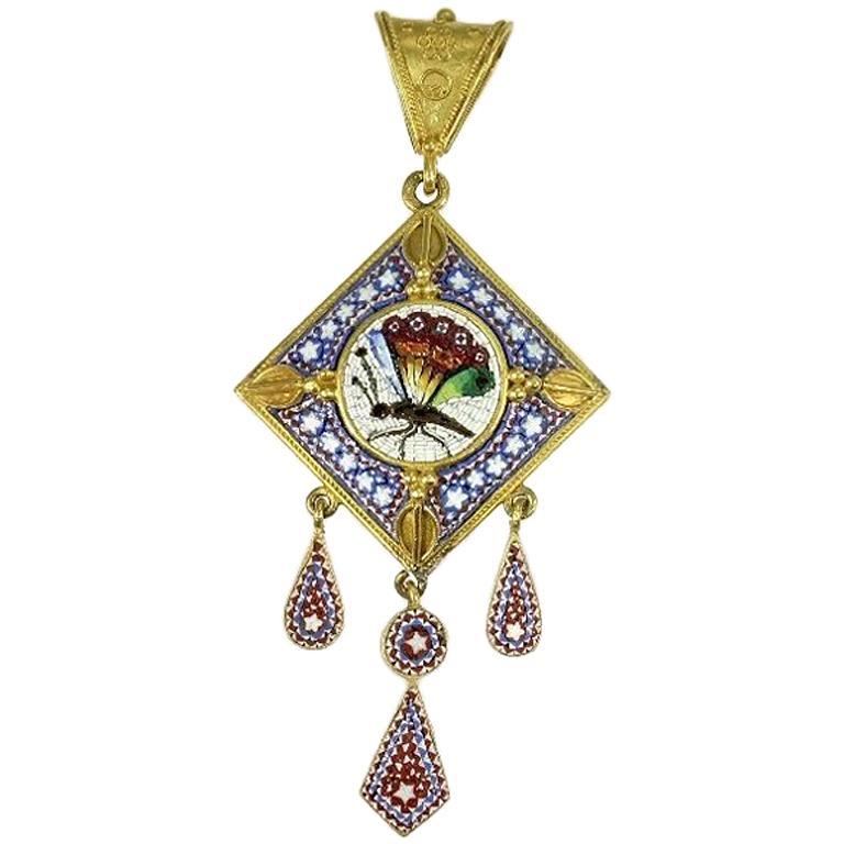 Victorian Antique Micro-Mosaic 18 Karat Yellow Gold Filigree Pendant For Sale