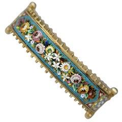 Victorian Antique Micro Mosaic Flower and Dove Bangle Bracelet