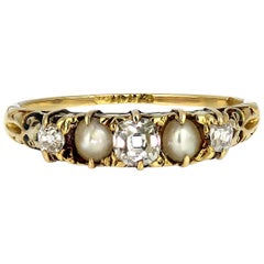 Victorian Antique Natural Pearl and Old Mine Cut Diamonds Ring in 18 Carat Gold