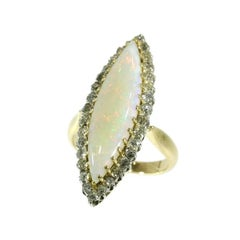 Victorian Antique Opal and 1.92 Carat Diamond 18 Karat Yellow Gold Marquise Ring