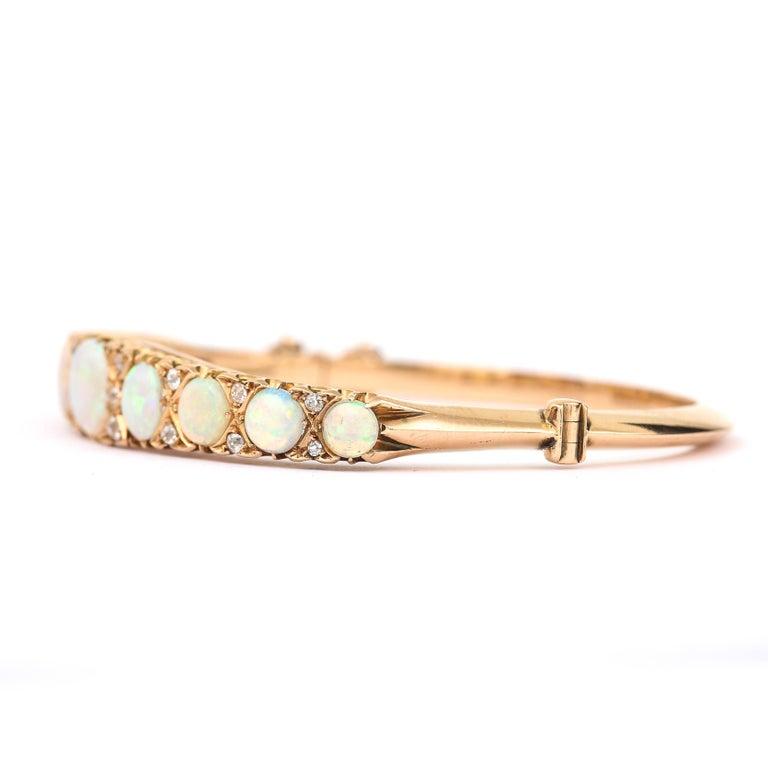Old European Cut Victorian Antique Opal and Diamond Bangle Bracelet 18 Karat Yellow Gold  For Sale