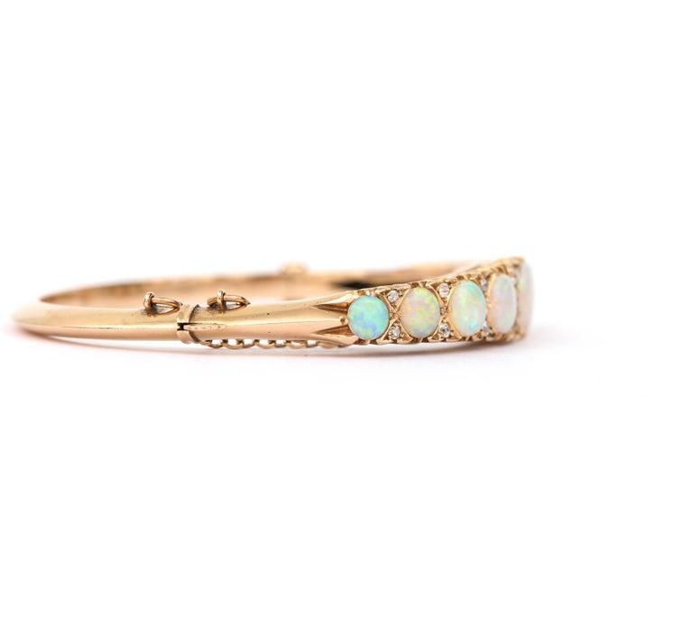 Victorian Antique Opal and Diamond Bangle Bracelet 18 Karat Yellow Gold  In Good Condition For Sale In Lancashire, Oldham