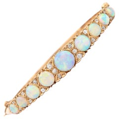 Victorian Antique Opal and Diamond Bangle Bracelet 18 Karat Yellow Gold