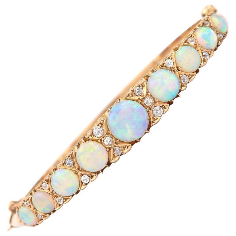 Victorian Antique Opal and Diamond Bangle Bracelet 18 Karat Yellow Gold  For Sale