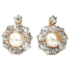 Victorian Antique Pearl And Diamond Cluster Earrings