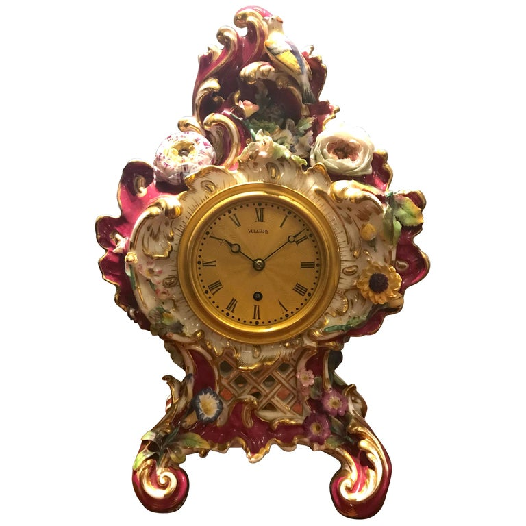 Victorian Antique Porcelain Mantel Clock by Benjamin Lewis Vulliamy, London