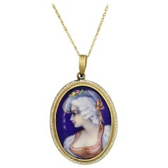 Victorian Antique Porcelain Seed-Pearl Gold Pendant