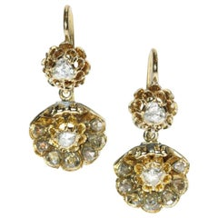 Victorian Antique Rose Cut Diamond and 14 Karat Yellow Gold Drop Earrings