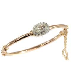 Victorian Antique Rose Cut Diamond and 18 Karat Rose Gold Bangle