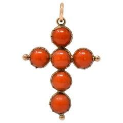 Victorian Antique Round Cabochon Coral 10 Karat Rose Gold Cross Pendant