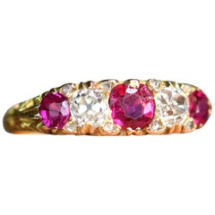 Victorian Antique Ruby and Diamond Five-Stone 18 Karat Gold Ring