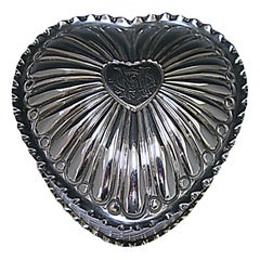 Victorian Antique Silver Heart Shaped Box