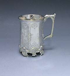 Victorian Antique Silver octagonal sided Christening Mug