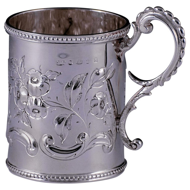 Victorian Antique Sterling Childs / Christening Mug For Sale