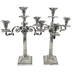 Victorian Antique Sterling Silver 4-Light Candelabra 1895 Candlesticks