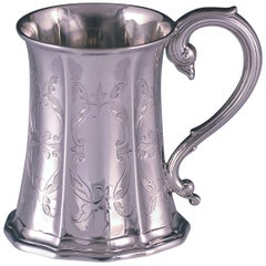 Victorian Antique Sterling Silver Childs Mug by Hawksworth & Eyre Sheffield,1857