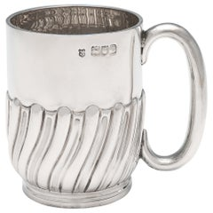 Victorian Antique Sterling Silver Christening Mug by Jackson & Fullerton, 1898