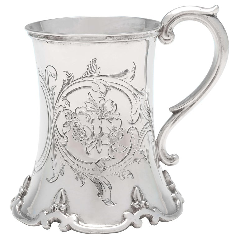 Victorian Antique Sterling Silver Christening Mug Hallmarked in 1852 For Sale