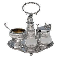 Victorian Antique Sterling Silver Condiment Set by George Fox from 1868