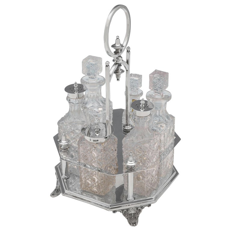Victorian Antique Sterling Silver Cruet Set by Charles Boyton II London, 1896 For Sale