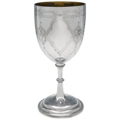 Victorian Antique Sterling Silver Goblet with Engraved Decoration
