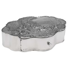 Victorian Antique Sterling Silver Jewellery Box, London 1899 by William Comyns