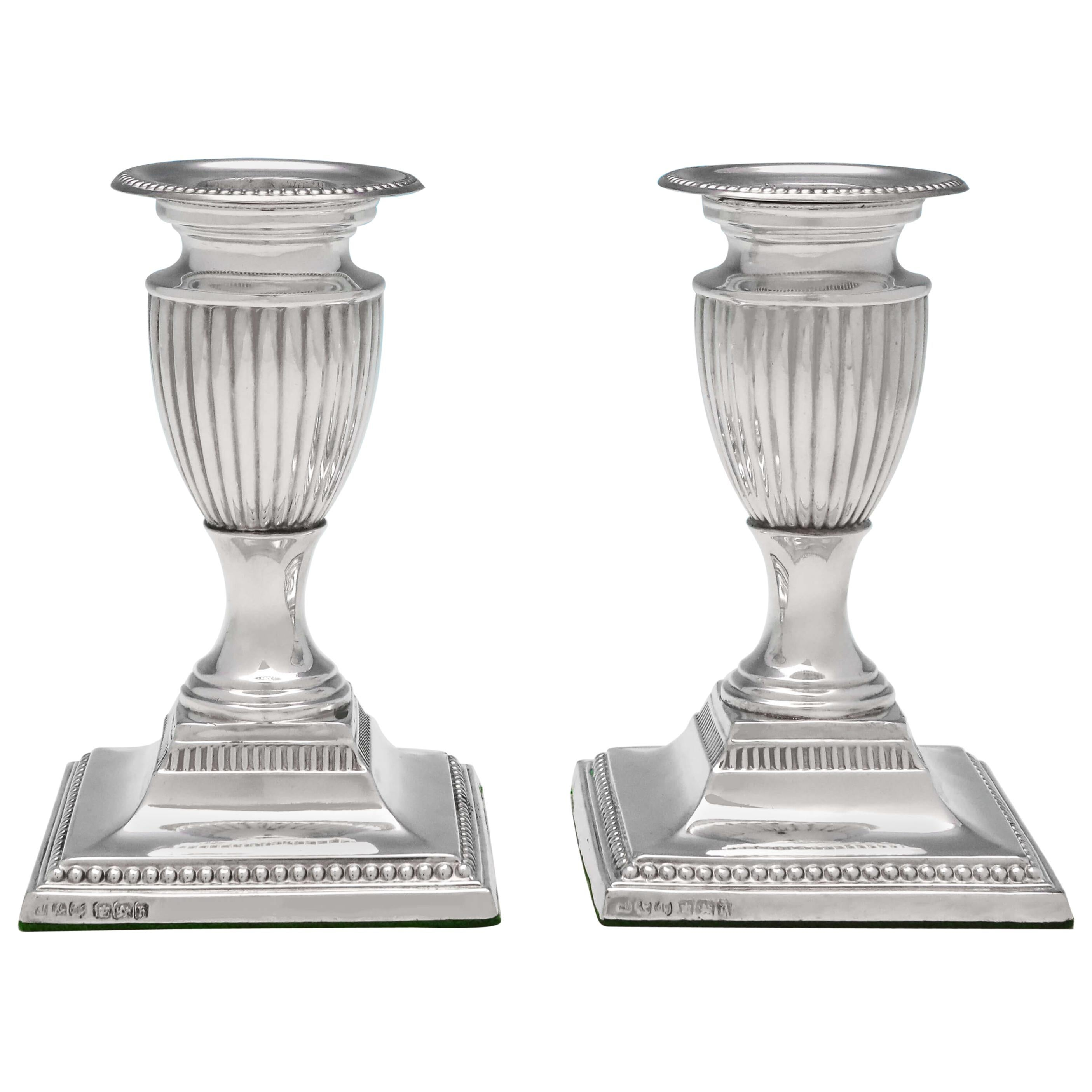 Victorian Antique Sterling Silver Pair of 'Piano' Candlesticks from 1900