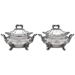Victorian Antique Sterling Silver Pair of Sauce Tureens by John Figg