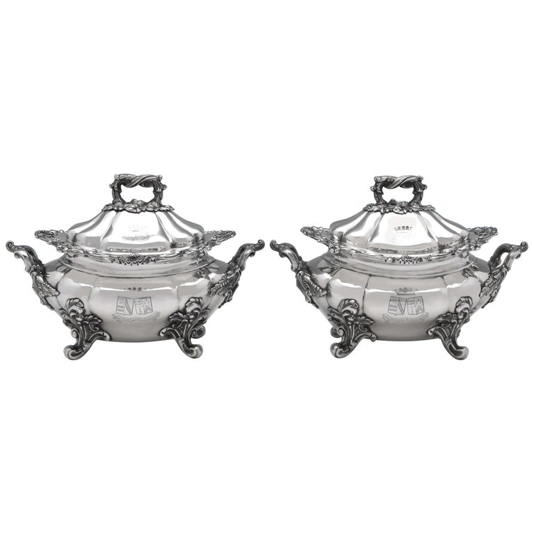 Victorian Antique Sterling Silver Pair of Sauce Tureens by John Figg For Sale