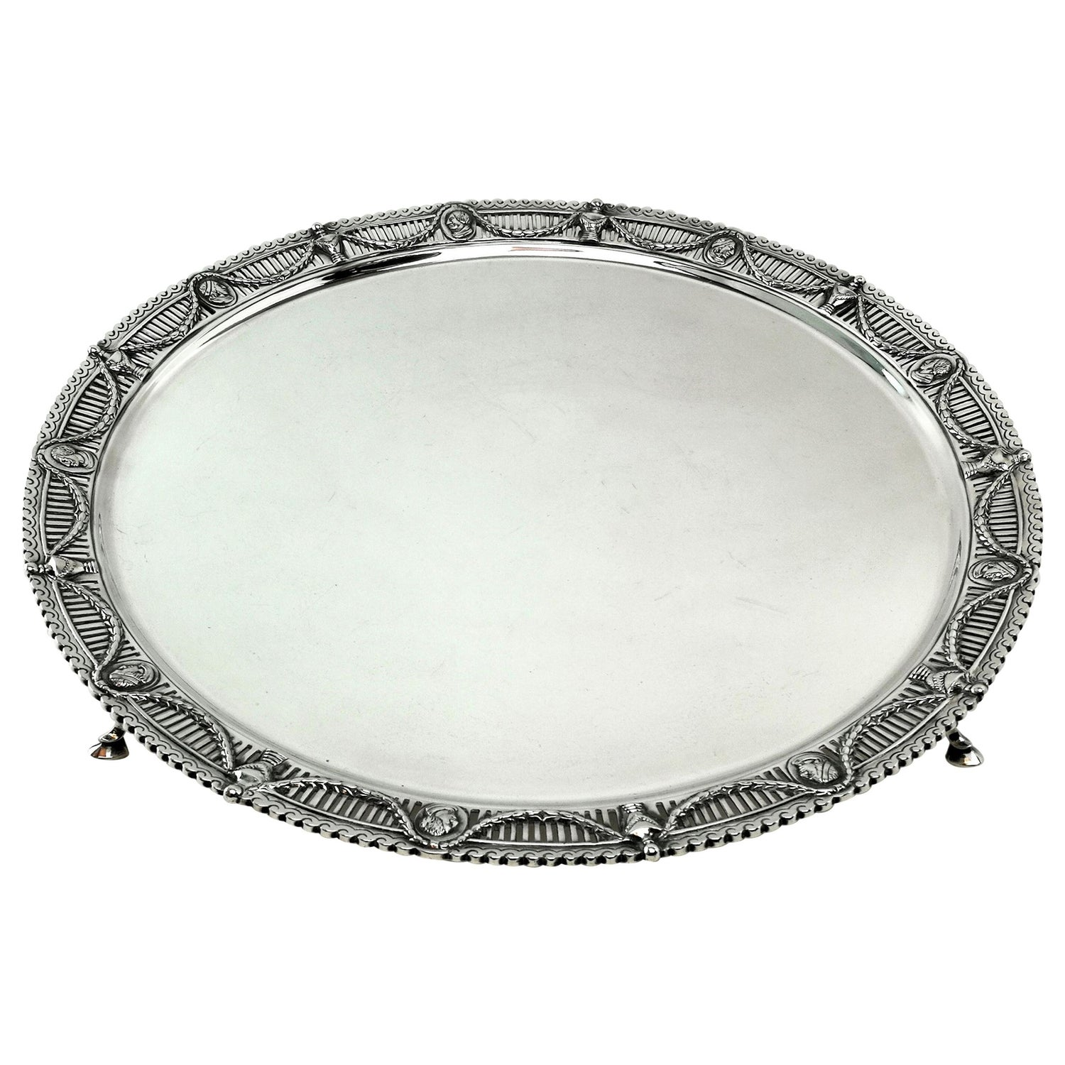 Victorian Antique Sterling Silver Salver / Tray / Platter 1897
