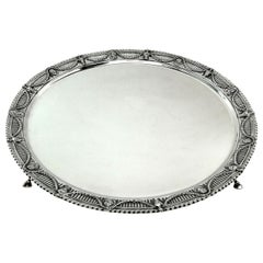 Victorian Antique Sterling Silver Salver Tray Platter, 1897