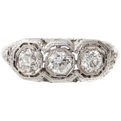 Victorian Antique Three-Diamond Filigree Low Profile Vintage Engagement Ring
