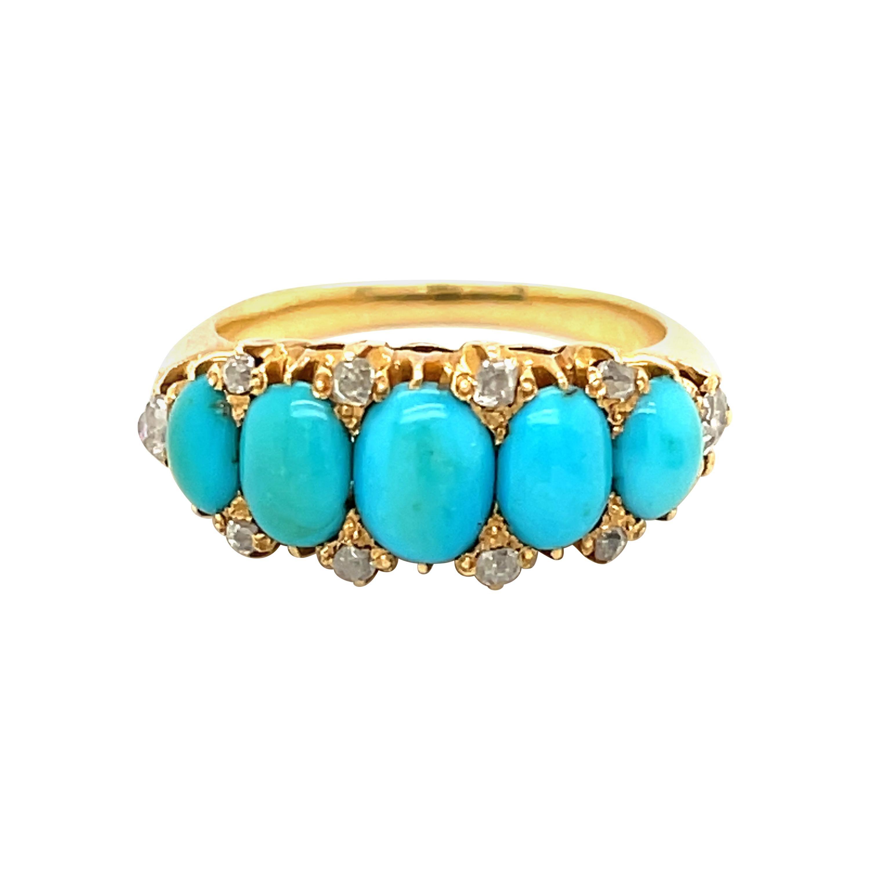 Victorian Antique Turquoise Diamond Gold Half Hoop Ring