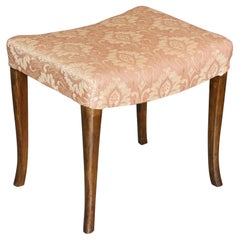Victorian Antique Walnut Damask Dressing Table or Piano Stool Lovely Curved Legs