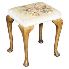 Victorian Antique Walnut Embroidered Dressing Table or Piano Stool Lovely Legs!!