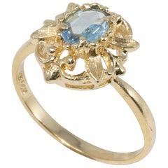 Victorian Aquamarine 14 Karat Ornate Floral Gold Ring, Open Back Setting
